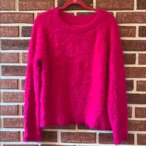 Lou & Grey Hot Pink Faux  Fur Pullover Sweater